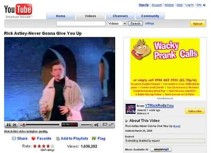 The Cult Of Rick Astley Goes Mainstream - YouTube RickRoll Users