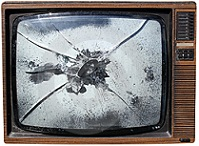 Smashed TV Set